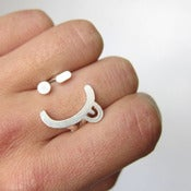 Image of Naughty Face Wink smile - Handmade Silver Ring