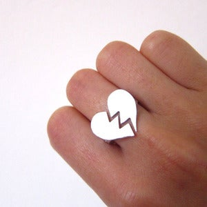 Image of Broken Heart Ring  - Handmade Silver Heart Ring