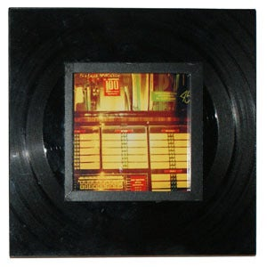 Image of Square frame made with a recycled vinyl record.
