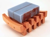 Image of Soap & Double Curved Wood Soap Dish