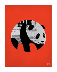 Image of Panda News Red Art Print Unframed