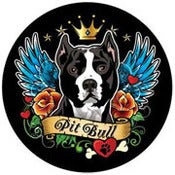 Image of Pit Bull Tattoo Style Magnet - Black 