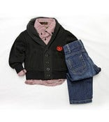 Image of Black Fleece Shawl Cardigan W/ Houndstooth 3pc Toddler
