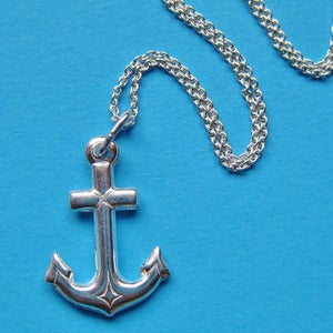 Image of Sterling Silver By the Sea Anchor Necklace