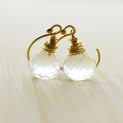 Image of DEW DROP - Clear Quartz & 14k Gold Fill Onion Briolette Earrings