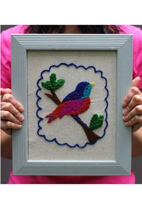 Image of DIY Crewel Embroidery Kit - Jeweled Bird