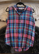 Image of Blue and Pink Plaid Hoodie