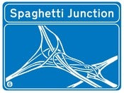 Image of Spaghetti Junction, Bostin Design - Royal Blue, available as Tee Shirt and Poster