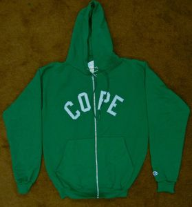 Image of Embroidered Zip Hoodie - Green / Silver