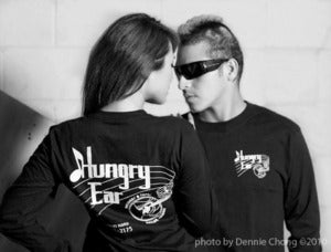 Image of Black long sleeve T-Shirt with original Hungry Ear Logo!
