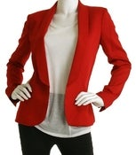 Image of Red Open front blazer