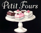 Image of vintage bakery inspired petit fours menu board matted print M