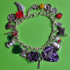 Image of Just Sew! Purple Plectrum Charm Bracelet