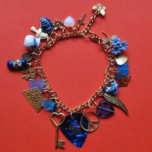 Image of Peace & Love Plectrum Charm Bracelet