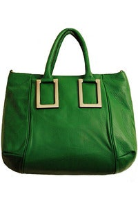 Image of 'Greenland' Green Leather Satchel