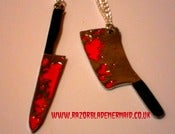 Image of Bloody Meat Cleaver Necklace and Bloody Knife Necklaces Psychobilly Horror