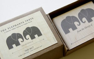 Image of SALE: Elephants Texts Bookplate Stamp