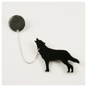 Image of Wolf &amp; Moon Brooch