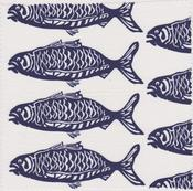 Image of NEW! School O' Fish - Navy Upholstery Weight