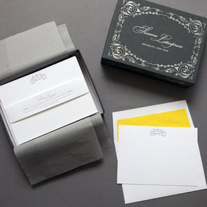 Image of Letterpress Tandem Bike Deluxe Stationery Set