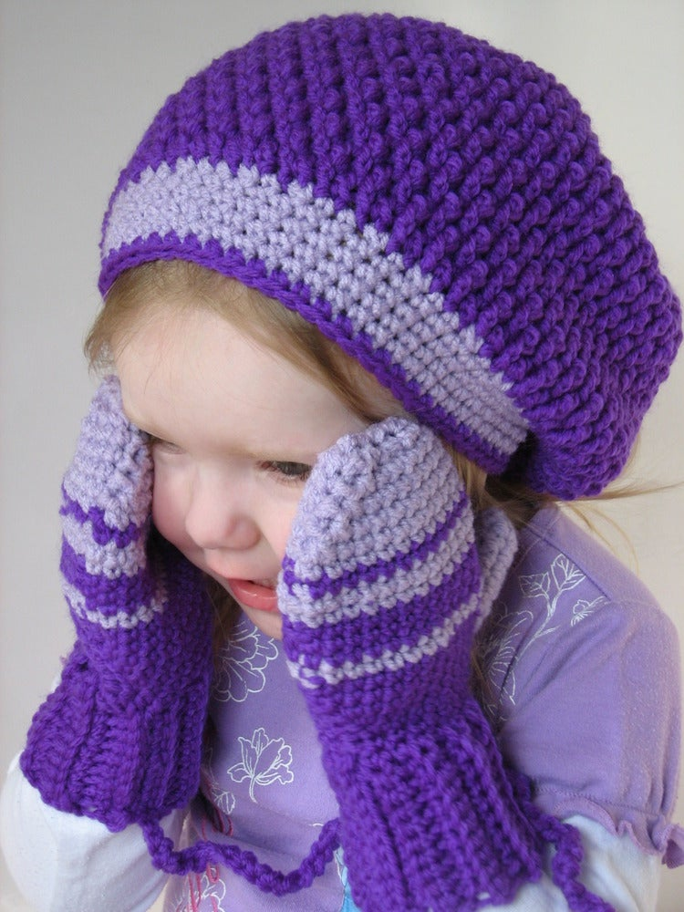 ... Crochet — Kids Slouchy Beret & Mittens on a String Crochet Pattern