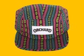 Image of Orchard 5 Panel Hat - Teal Aztec Text Logo