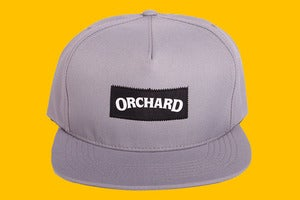 Image of Orchard Text Logo Rhino Canvas Snapback Hat - Silver