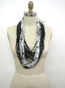 Image of Reclaimed T-shirt Necklace :::B&W PRINTED
