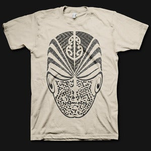 Image of Mens Face the World Tee - Sand