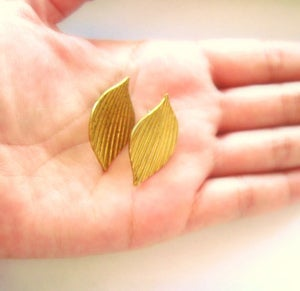 Image of Vintage brass Petal Deco Earrings on Surgical Steel Posts
