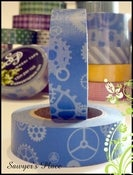 Image of Steel Blue Cogs &amp; Gears Washi Tape - Japanese Masking Tape - Titus Industrial Gears - 15mm x 15m