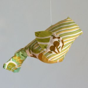 Image of Yarn-Wrapped Trio with Baby Bird Mobile (One-of-a-Kind)