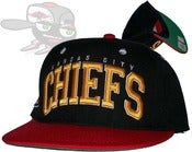 Image of Kansas City Chiefs Black/Red Two Tone Snapback Hat Cap