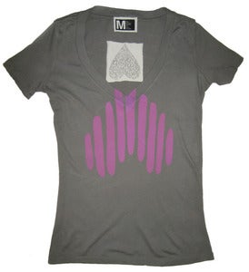 Image of Women's Heart Logo V-Neck - Gray