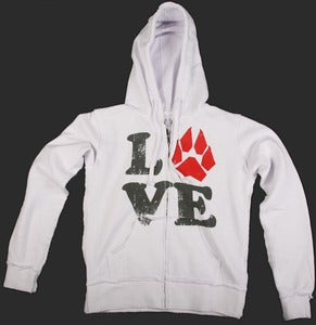 LOVE Womens Raw Hoodie - White