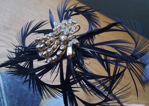 Image of Black Feather Off Centre Diamante Headpiece