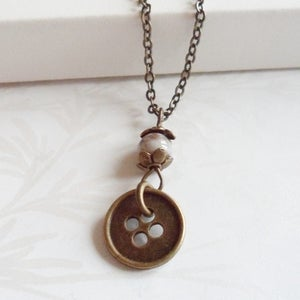 Image of Vintage Style Button Necklace