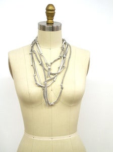 Image of Recycled T-shirt Necklace :::BLACK/GREY Knotted T-LACE