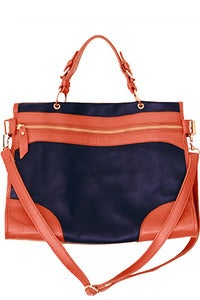 Image of Navy Leather Oxford Satchel / Shoulder Bag