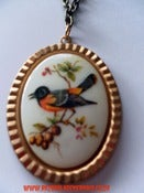Image of Vintage style Rockabilly Yellow & Black Bird Cameo necklace