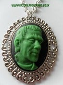 Image of Horror Monster Green Frankenstein Cameo Necklace