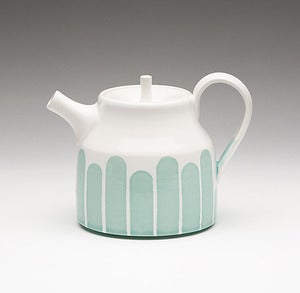 Image of Turquoise Striped Teapot