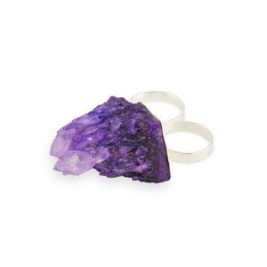 Image of Andra. Druzy Quartz Double Ring