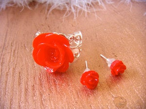 Image of Red Rosette Ring and Earring Set