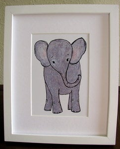 Image of Baby Elephant Fine Art Wall Print, Unframed 8x10, Nursery, Baby, Children