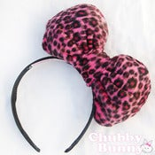Image of Plush Pink Leopard Bow
