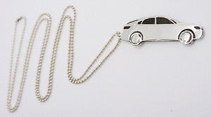 Image of Sterling Silver Race Car Pendant Necklace