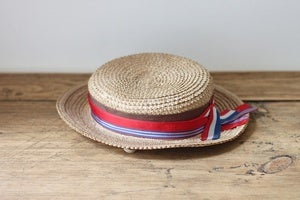 Image of little straw hat with ribbons {SOLD}