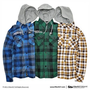 Image of Filter017 HOODED PLAID JACKET