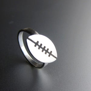 Image of Football Ring - For Super Ball lovers - Handmade silver ring